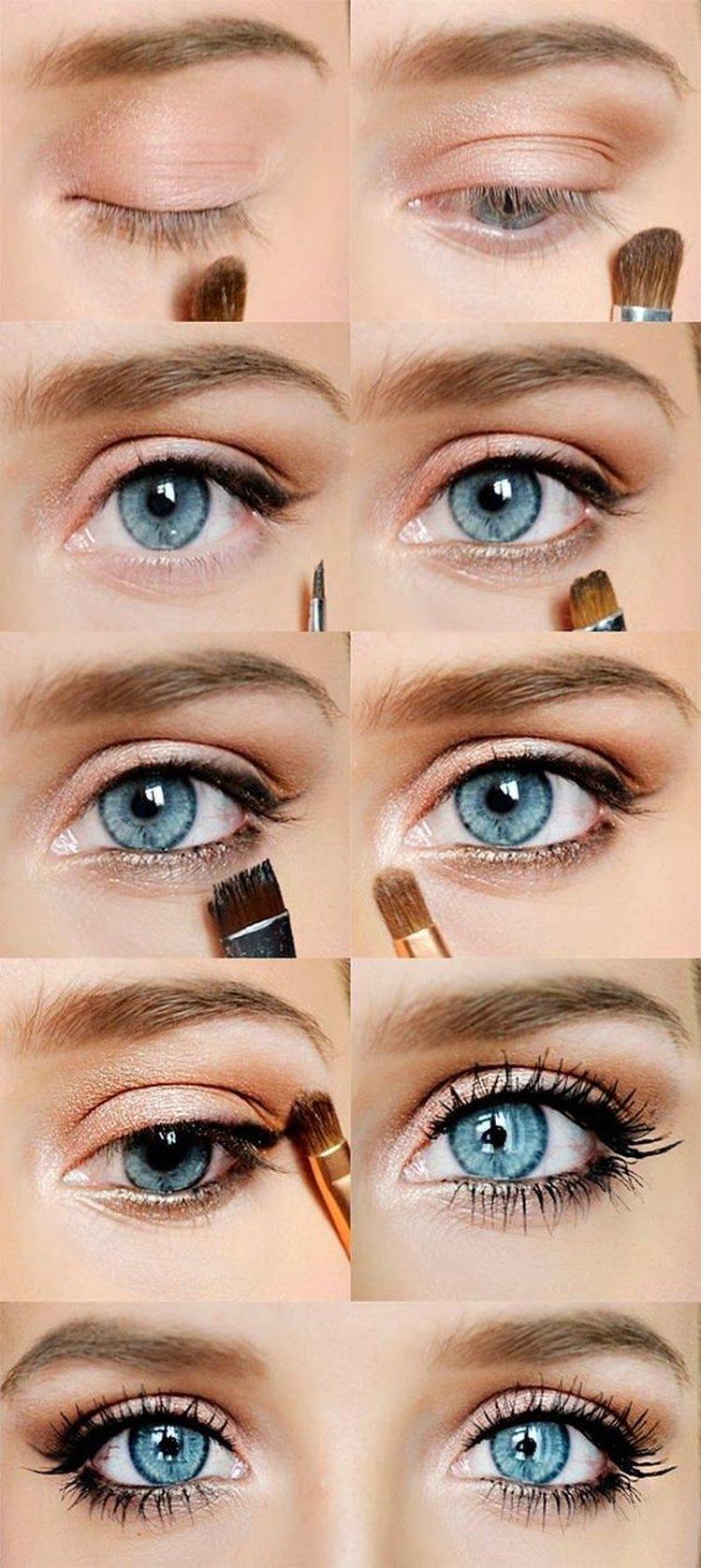 Макияж для голубых глаз и тёмных волос пошагово