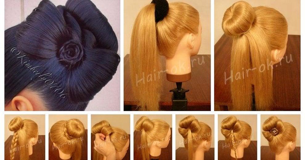 Прически средних волос шишки