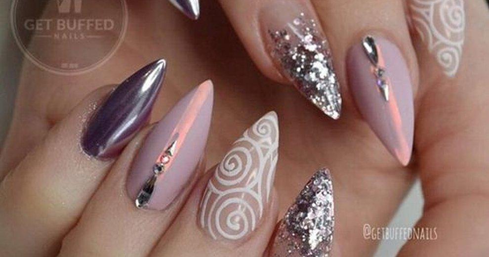 Дизайн нарощенных ногтей на миндальной форме