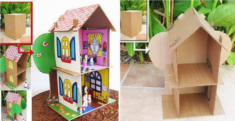Как сделать домик для кукол барби своими руками из коробки или картона 17