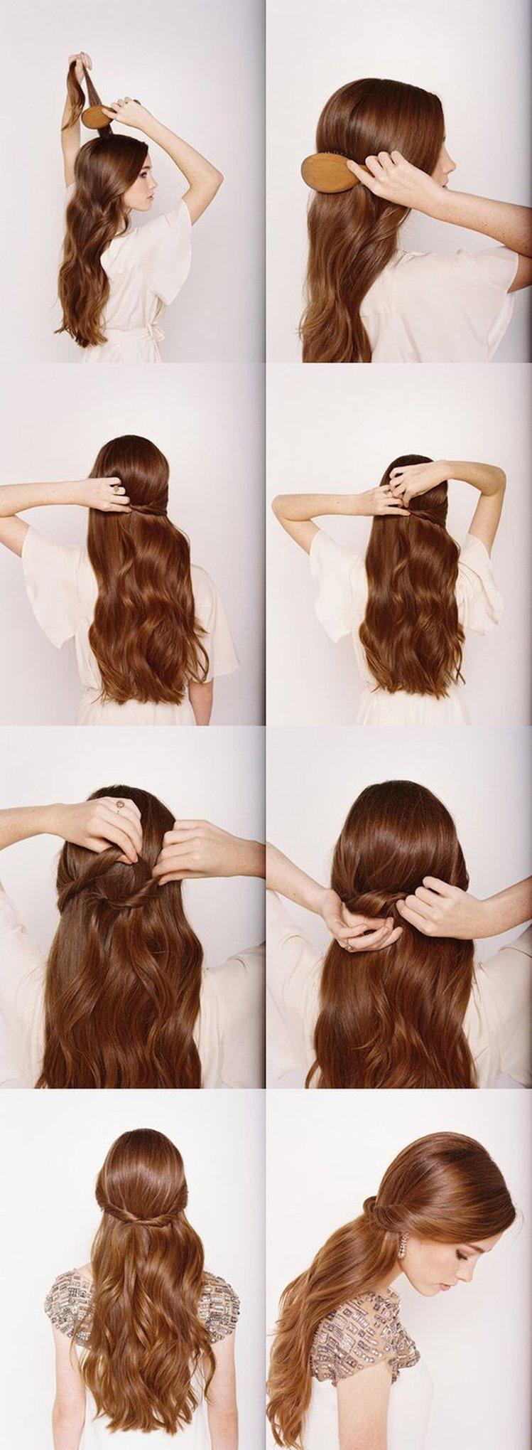Простые красивые причёски на длинные волосы своими руками фото пошагово 52